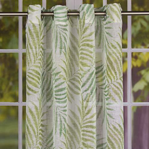 SCHÖNER LEBEN. Fertiggardine Ösengardine Leinenstruktur Palmenblätter weiß grün 140x260cm