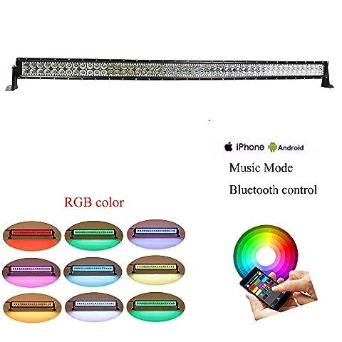 colorbarz® incurvé 127cm 288W RGB Câblage Halo LED lumière Bar avec application Bluetooth et télécommande pour Rock Kit LED Off Road lumineux Bluetooth pour voiture/camion extérieur 4Wheeler LED imperméable