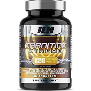 51AxYnR6mLL. SS300  - Acetyl L Carnitine - Carnitine Xtreme - 2000mg Acetyl L Carnitine x 30 Servings with Chromium, which contributes to normal macronutrient metabolism - 120 Vegetarian Capsules