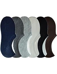 Me Stores Men's Loafer Socks Solid Plain Socks No Show Socks (Pack Of 6)