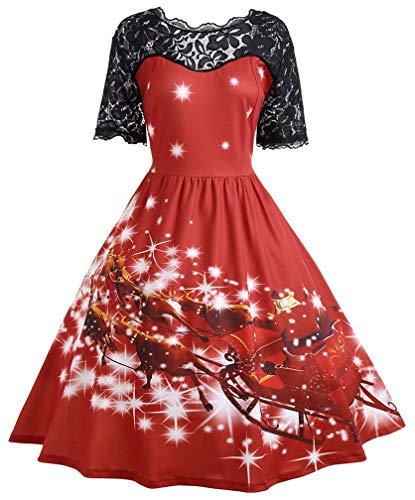 LeaLac Damen High Waist Short Sleeve Weihnachten 3D-Druck-Spitze-Partei-Swing-Kleid Plus Size US 4-6 = (Tag S) rot Petites Panel Detail Dress