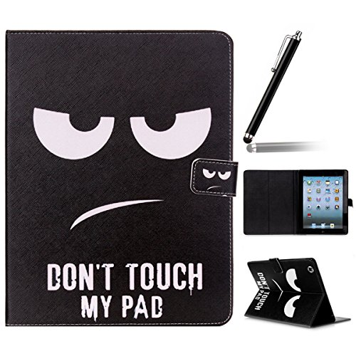 Ipad 2 3 4 Wallet Cover, Ipad 2 3 4 Flip Leather Case Back Cover, Ukayfe Stand Function PU Leather Case Premium Soft Slim Cover Bookstyle with Magnet Closure Credit Card Holder Slots for Apple iPad 2 3 4 iPad 2 iPad 3 iPad 4 with 1 x Black Stylus - Do not Touch My Pad