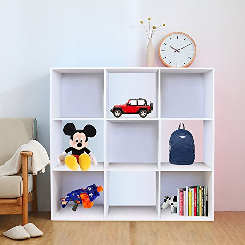 WarmieHomy Storage Unit, Modern 9 Cube Storage Unit Book Shelving Bookcase Toy DVD Storage Cabinet for Bedroom Living Room White
