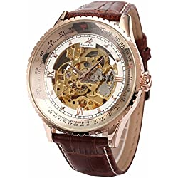KS Royal Carving Skeleton Mens Rose Gold Case Auto Mechanical Brown Leather Watch KS113