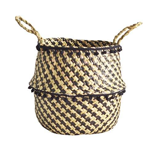 WINLISTING Vatertag Handmade Woven Hanging Basket,Seagrass Wicker Basket Wicker Basket Flower Pot Folding Basket Dirty Basket Storage for Home Garden Wedding Wall Decoration (A 22×20cm, Schwarz) -