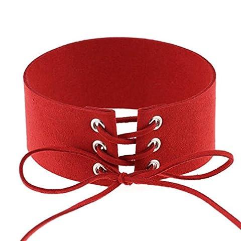 Angelof Femmes Os Du Cou Bracelet Collier Gothique Bijoux Collier(Rouge)