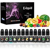 E Liquids ohne Nikotin, E-liquids 12 X 10mL, E-Zigaretten Liquid Set 70VG/30PG Refill Electronic Cigarette, für Elektronische Zigaretten, Premium Rauch/Smoke
