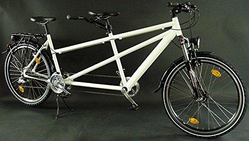 26 Zoll Alu Tandem Fahrrad MTB Shimano Deore Nabendynamo weiss Test