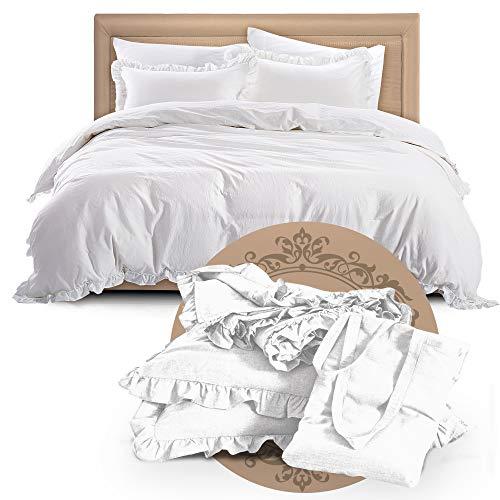 Mivedia Collection Rüschen-Bettwäsche-Set mit Kissenbezügen, 100% Baumwolle, Bauernhaus und Bohemian-Stil, leicht und weich Casual King weiß - Premium Pack Bettwäsche-set