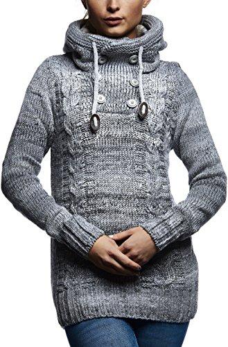 LEIF NELSON Damen Pullover Hoodie Kapuzenpullover Strickpullover Jacke Langarm Shirt Sweatjacke Sweater Schalkragen Strick LN20227D; Gr_¤e S, Grau