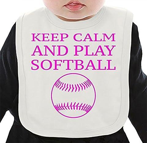 Keep Calm And Play Softball Funny Slogan Organic Bib W/