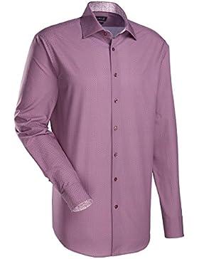 JACQUES BRITT Herren Hemd Custom Fit Brown Label 1/1-Arm Bügelleicht City-Hemd Hai-Kragen Manschette weitenverstellbar