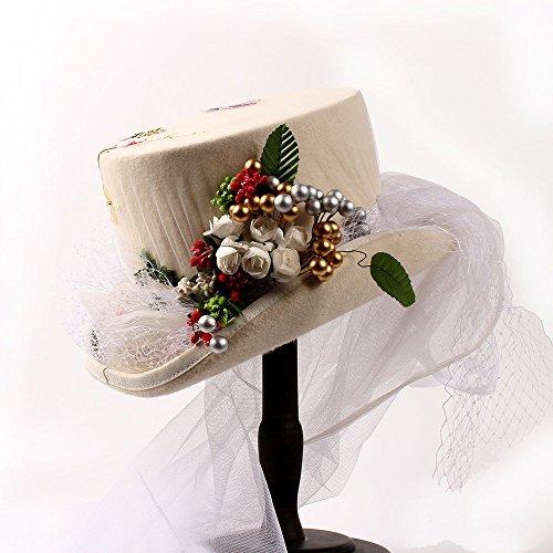Top Hut für Frauen viktorianischen Steampunk Wolle Bowler Hut Dekor mit Birne Blume & White Lace ( Color : White , Size : 55cm ) (Beste Holloween)