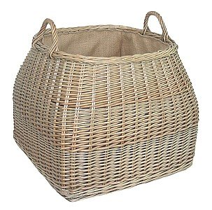Strong, tapered , square , large wicker willow log basket. New design. Handles