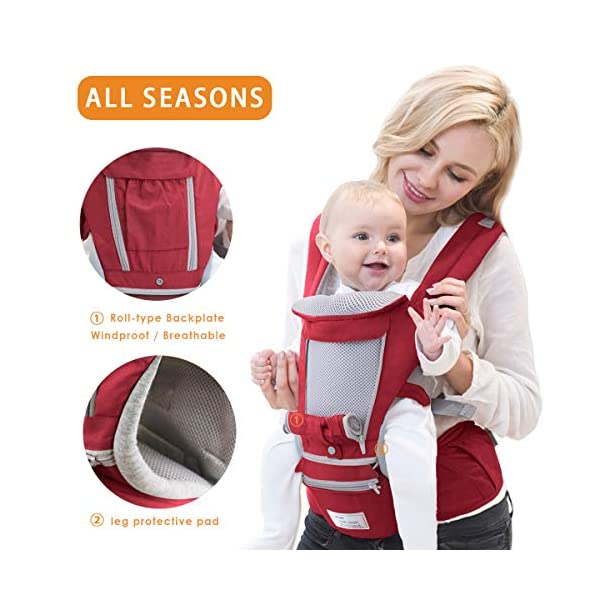 SONARIN 3 in 1 Multifunction Hipseat Baby Carrier,Front and Back,100% Cotton,Ergonomic,Easy Mom,Adapted to Your Child's Growing, 100% Guarantee and Free DELIVERY,Ideal Gift(Red) SONARIN Applicable age and Weight:0-36 months of baby, the maximum load:36KG, and adjustable the waist size can be up to 47.2 inches (about 120 cm). Material:designers carefully selected soft and delicate Cotton fabric. Resistant to wash, do not fade, ensure the comfort and breathability, Inner pad: EPP Foam,high strength,safe and no deformation,to the baby comfortable and safe experience. Description:Scientific 35°, the baby naturally fits the mother's body, safe and comfortable.Patented design of the auxiliary spine micro-C structure and leg opening design, natural M-type sitting.H-type bridge belt, effectively fixed shoulder strap position, to prevent shoulder straps fall, large buckle, intimate design, make your baby more secure. 3