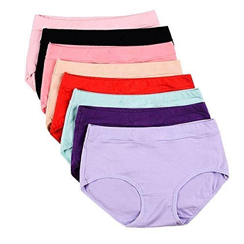 Buankoxy Damen 8er stretch cotton höschen, verschiedene farben groß (7) mid-rise thick -