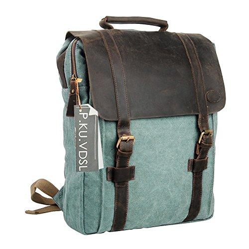 Canvas Rucksack, P.KU.VDSL 15 zoll Laptoprucksack Wanderrucksack Vintage Canvas Leder Schultasche Reisetasche Daypacks Backpack für Uni Outdoor Sports Freizeit (A-Blue)