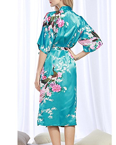 Donna Pigiama Kimono Vestaglie Stile Breve Peacock Printing Kimono Bathrobe Lago Blu