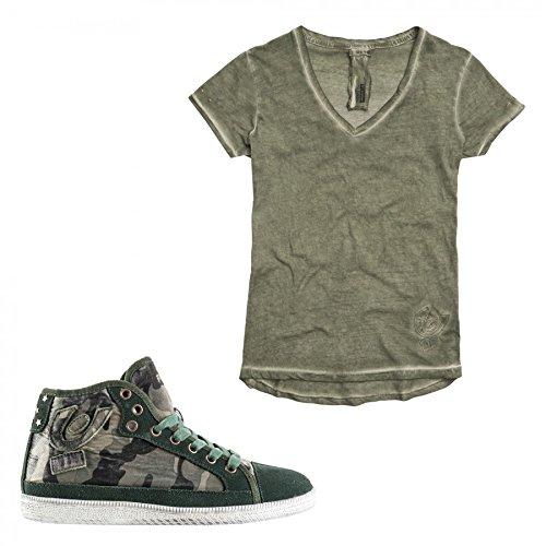 Freddy Sneaker con Rialzo internodi 3cm + T-Shirt in Omaggio (LST45SZTD) (40, Camouflage)