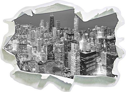 Luftaufnahme von Chicago bei Nacht Kunst B&W, Papier 3D-Wandsticker Format: 62x45 cm Wanddekoration 3D-Wandaufkleber Wandtattoo