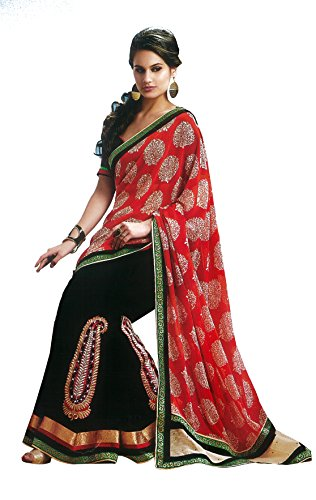 Chirag Sarees Georgette Saree (Bb83759 A_Black & Red)