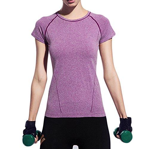 Fastar pour femme Sports Fitness Course à Pied entraînement décontracté doux à séchage rapide t-shirts TOPS Violet