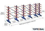 Kragarmregal KR6000 für extrem schwere Lasten, 1000kg/Arm, 6000kg/Ständer, Breite 7,5m, Höhe: 2m, Armtiefe 75cm, 5 Ebenen, doppelseitig, Langgutregal