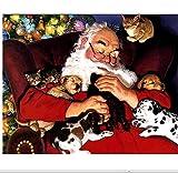 XIGZI 5D DIY Diamante Ricamo Dormire Babbo Natale Diamante Pittura A Punto Croce Adesivi Rotondo Pieno di Strass Decorazione del Mosaico 30X40 Cm Frameless