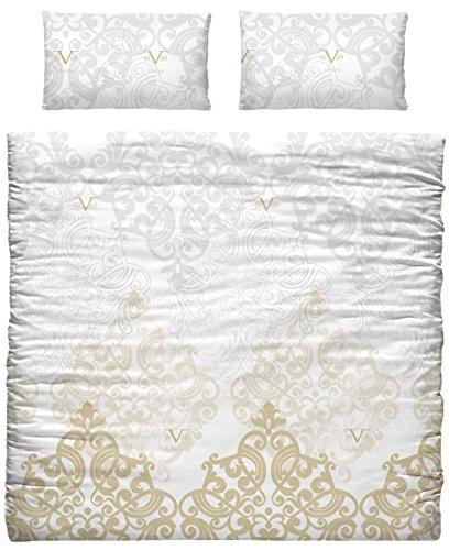 Versace 19V69Bettdecke und Kopfkissenbezug für Einzelbett, aus Polycotton, Gold, 35x 25x 7cm, 3Stück