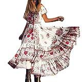Sonnena Chiffon Boho MaxiKleid Casual Kurzarm Schulterfrei Kleid Retro Lang Kleider Damenkleider Festlich Cocktailkleider Frauen Sexy Sommerkleid Abendkleid Partykleid Gown