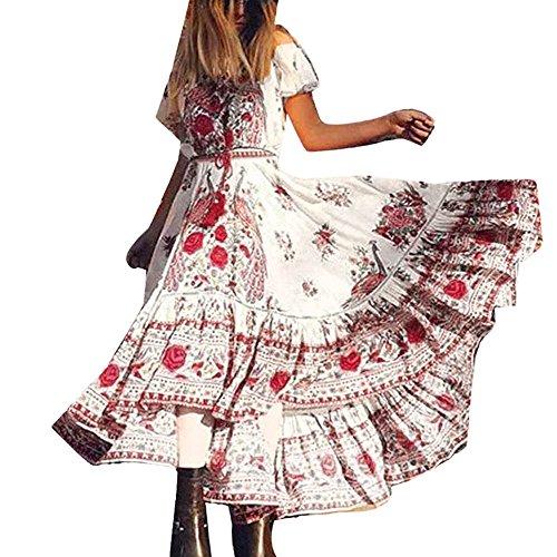 Elecenty Damen Strandkleid Chiffon Retro Bohemien,Lange Boho Sommerkleid Schulterfrei Kleid Mädchen Drucken Maxikleid Lose Kurzarm Kleider Frauen Kleidung Partykleid (S, Rot)
