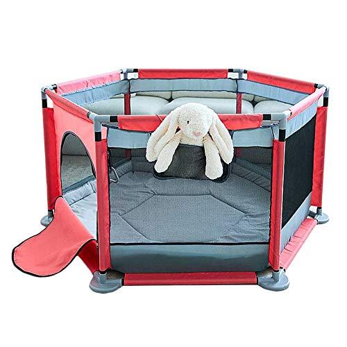 Parc- Sécurité Playard avec Mat, Bambin 6 Panneaux Portable pour Bébé, Intérieur Clôture De Sécurité pour Enfants, 65cm De Hauteur (4 Couleurs) (Couleur : Gray Pink)