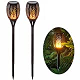 OUKANING Waterproof Solar Torch Lights, LED Flame Torch Lights Flickering Torches with Realistic Flames Solar Powered for Outdoor Garden Landscape Decoration Path Lighting Dusk to Dawn (2 pack) …