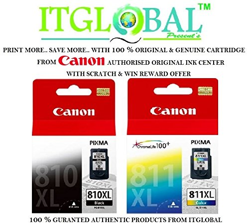 Canon 810 XL & 811 XL Combo Ink Cartridge [Set of 2 Cartridge] -Special ITGLOBAL Combo With Scratch & Win Offer ( PG 810XL & CL 811XL ) Black & Color  available at amazon for Rs.3964