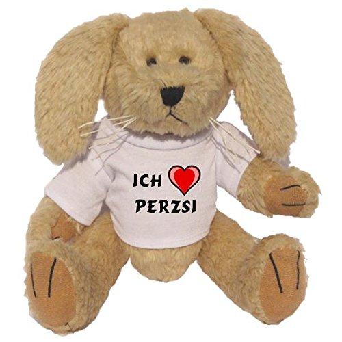 Preisvergleich Produktbild Plüsch Hase mit T-shirt mit Aufschrift Ich liebe Perzsi (Vorname/Zuname/Spitzname)