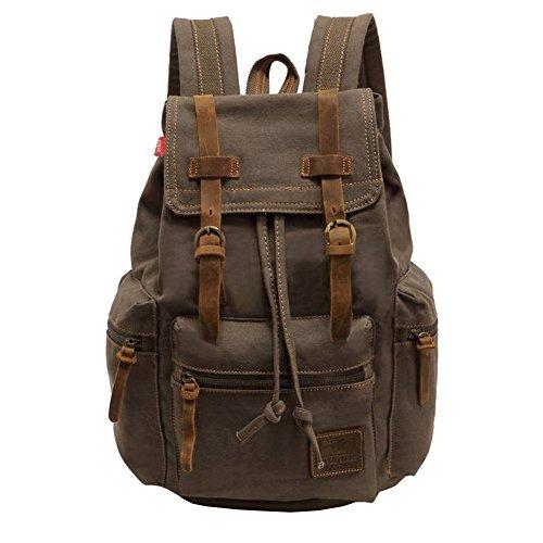 Canvas Rucksack, P.KU.VDSL-AUGUR REIHE Vintage Multifunktionstasche Canvas Schulrucksack Backpack für Herren Damen Outdoor Sports Reise Wandern Bergsteigen (A - Armygrün - Groß)