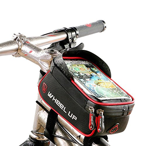 Fahrrad Rahmentasche, Fahrrad Oberrohrtasche Tasche, XPhonew wasserabweisend Fahrrad Handytasche Vorderes Rohr Rahmen Tasche Halter für iPhone XS MAX XR X 8 7 Plus Samsung Sony Smartphones bis 6 Zoll (Rohr 7 Id 8)