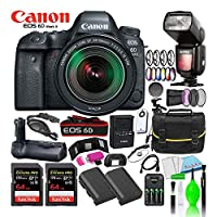 ‏‪Canon EOS 6D Mark II 24-105mm f/3.5-5.6 IS STM Lens Kit with Power Heavy Duty Tripod TR395, Black + Sandisk SDHC16GB Ultra 80MB/S + Smart Carry Case Bundle Kit‬‏