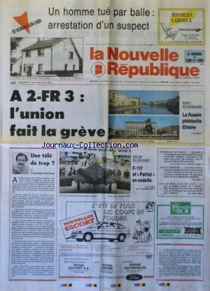 NOUVELLE REPUBLIQUE (LA) [No 14190] du 14/06/1991 - GREVE A LA TELE - UNE TELE DE TROP PAR GERBAUD - LE SALON DU BOURGET - LES JEUX OLYMPIQUES - SAINT-PETERSBOURG / LA RUSSIE PLEBISCITE ELTSINE - par Collectif