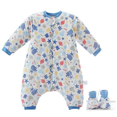 Baby schlafsack mit Beinen Warm Lined Winter Langarm Winter schlafsack mit Fuß und Baby schuhe 3,5 Tog (M/Körpergröße 80cm-95cm, blauerRoboter)