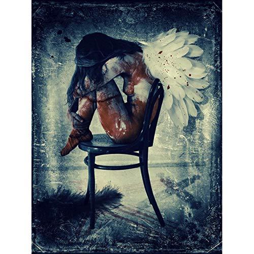 Engel Erwachsenen-stuhl (QNWLKJ DIY 5d Diamant Stickerei sexy nackte Engel auf Stuhl Diamant malerei kreuzstich volle runde Bohrer Strass Dekoration Geschenk Diamant malerei kit mosaik Dekoration 40x50cm)