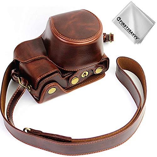First2savv Dunkelbraun Premium Qualität Ganzkörper- präzise Passform PU-Leder Kameratasche Fall Tasche Cover für Sony Alpha 6400 6300 A6400 A6300 ILCE6400 ILCE6300 mit 16-50mm Lens -