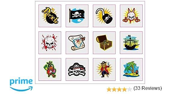 6 Confezioni di 12 Bambini Ragazze Ragazzi Pirata Tatuaggi Temporanei Buste Per Festa Bottino Pinnata Riempitivi 72 in totale