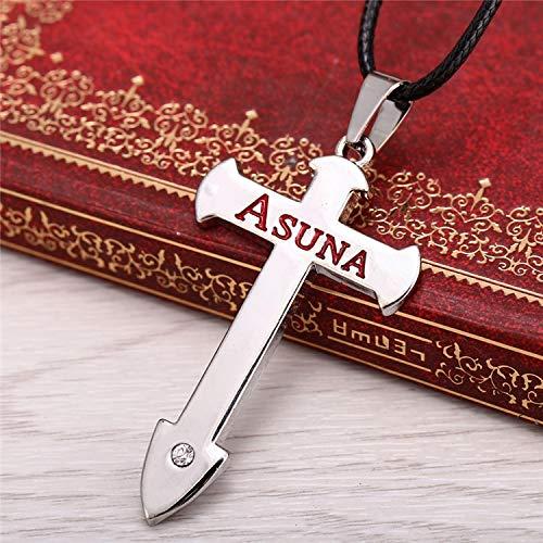 Klein Sao Kostüm - DADATU Halsketten für Herren Anime Sao Schwert Kunst Online Silber Metall Halskette Kreuz Asuna Anhänger Cosplay Zubehör Schmuck