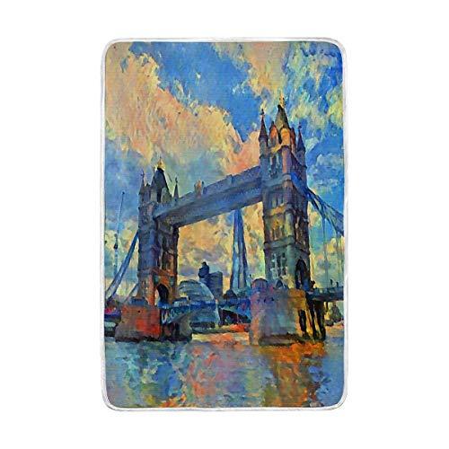 vinlin London Tower Bridge - Manta de Terciopelo con Cristal, acogedora y...