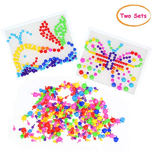 Nuheby Take Apart Toy Pegboard for Kids Building Bricks Blocks DIY Construction Toy Play Set 636 PCS Colorful Mushroom Nails Mosaic Puzzle Jigsaw Puzzles for Kids Girls Boys 3 4 5 Year Old (2 SETS)