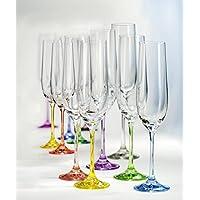 Bohemia cristal champán cristal, copa de champán (190ml Copa de champán Rainbow Colores Surtidos Juego De 6