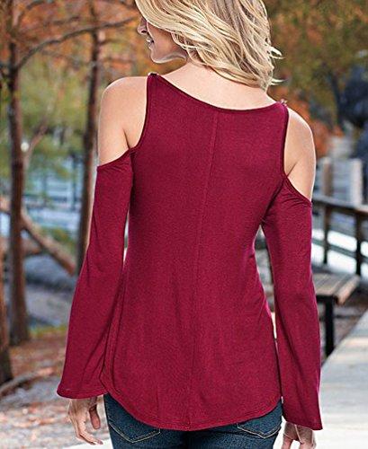 Femme Casual T-Shirt Blouse Bretelles Epaule Dénudée Chic Tops En Dentelle Manches Longues Rouge