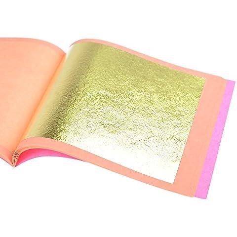 Pan de Oro Auténtico Suelto 23 kt, 85 X 85mm, Librillo de 25 Hojas