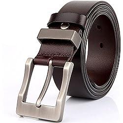 """Rihachan Caballeros Forma Reversible de la Correa de Cuero Cinturones en Todos los Tamaños de 1.4 """"de Ancho"""